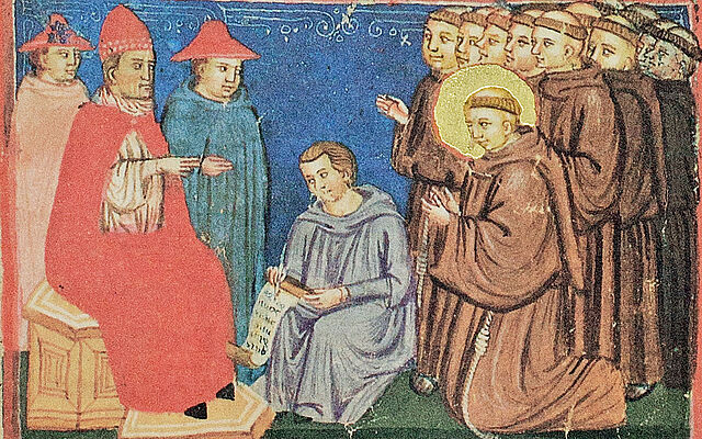 The Franciscan Order receiving official recognition from Pope Innocent III in 1210 (Legenda Maior: The Life of Saint Francis of Assisi, Italy — 13th century)